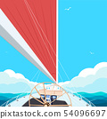 Top view sail boat on water 54096697