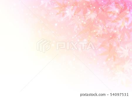 桃紅色背景閃爍秋葉 54097531