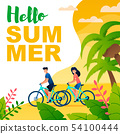 Hello Summer Flat Banner with Cartoon Cyclists 54100444