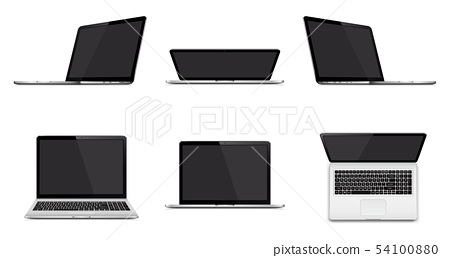 Set of modern laptop with blank screen 54100880