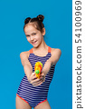Cheerful girl in swimsuit shooting at camera with water gun 54100969
