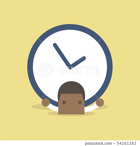 African businessman with big clock over his back. 54101161