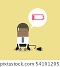 African businessman feeling tired and low battery. 54101205