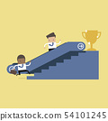 Businessman who going up to escalator to success. 54101245
