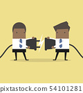 Two African businessman trying to connect electric 54101281
