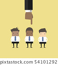 Recruitment concept hand pointing to businessman. 54101292