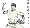Illustration of japanese baseball player 54101901
