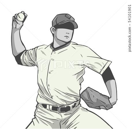 Illustration of japanese baseball player 54101901