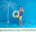 Little girl with inflatable ring on beach, enjoying summer holidays 54101942