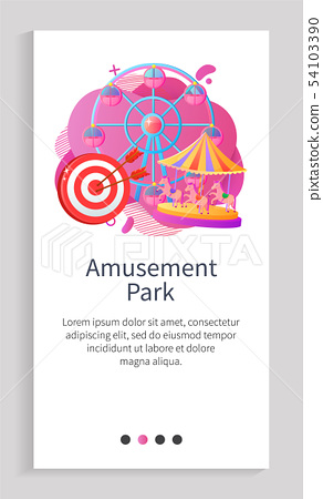 Round Attraction with Horses or Cabins Vector App 54103390