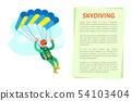 Extreme Sport Skydiving, Sportman Flying Vector 54103404