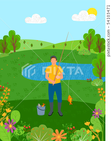 Summer Holiday, Man Fishing by Lake Pond Vector 54103471