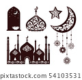 Oriental Ornaments on Different Black Silhouettes 54103531