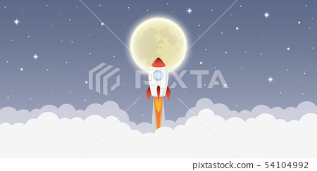 rocket launch into space to the moon in starry sky 54104992