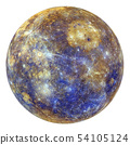 Full disk of Mercury globe from space isolated 54105124