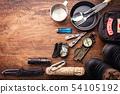 Outdoor travel equipment planning 54105192