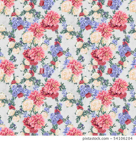 Watercolor floral seamless pattern. Hand painted flowers, greeting card template or wrapping paper 54106284