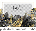 Palm leaves and luxurious frame in black gold color. Tropical leaf illustration on transparent 54106565