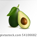 Avocado and slice isolated on transparent background. Photo-realistic vector illustration, 3d 54106682