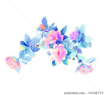 優雅的美麗的水彩玫瑰花牡丹花花卉 54106773