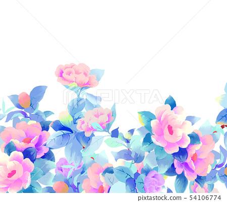 優雅的美麗的水彩玫瑰花牡丹花花卉 54106774