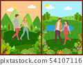 Meeting of Lovers, Couple Walking Outdoor Vector 54107116