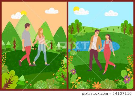 Meeting of Lovers, Couple Walking Outdoor Vector 54107116