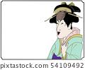 浮世繪風格的插圖插圖歌舞伎風格的女人形狀奇怪的不露面的性格沒有 54109492