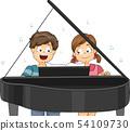Kids Piano Duet Illustration 54109730