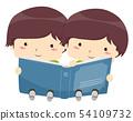 Kids Twins Boy Share Read Book Illustration 54109732