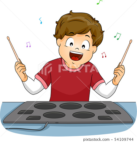 Kid Boy Drum Pad Illustration 54109744