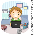 Kid Boy Laptop Study Bedroom Illustration 54109759