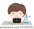 Kid Boy Laptop Program Robot Illustration 54109761