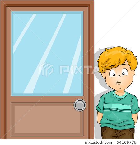 Kid Boy Outside Principal Office Illustration 54109779