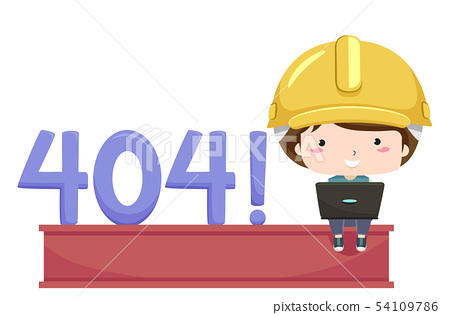 Kid Boy Developer 404 Illustration 54109786