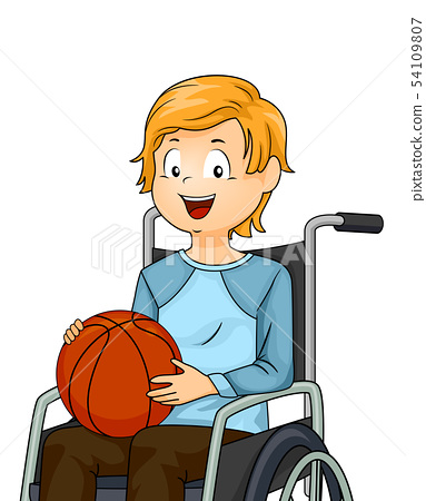 Kid Boy Wheelchair Basketball Illustration 54109807