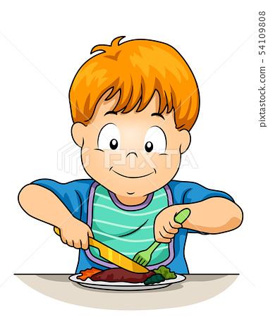 Kid Boy Use Knife Fork Illustration 54109808
