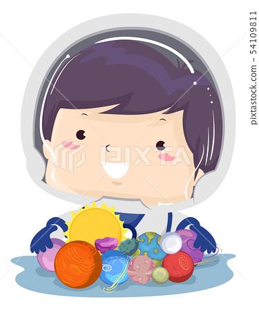 Kid Boy Toys Planet Illustration 54109811