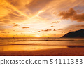Sunset with clouds of different shapes. Thailand. 54111383