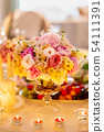 Table set for wedding banquet, floral decor 54111391