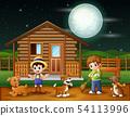 Cartoon farmer working on a farmyard 54113996