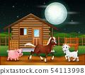 Farm animals playing in the night scene 54113998