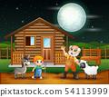 Farmer and farm animal in the farmyard at night 54113999