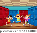 Three kids jumping and laughing in locker room 54114000