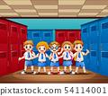 Happy student standing in the locker room 54114001