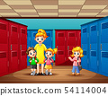 Teacher with student walking in the locker room 54114004
