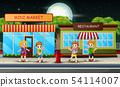 School children walk past the mini market 54114007