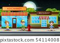 Cartoon children in front the restaurant 54114008