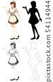 Set of maid character 54114944