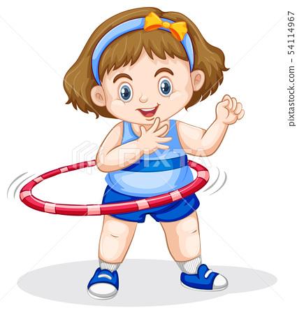 A girl playing hoola Hoop 54114967